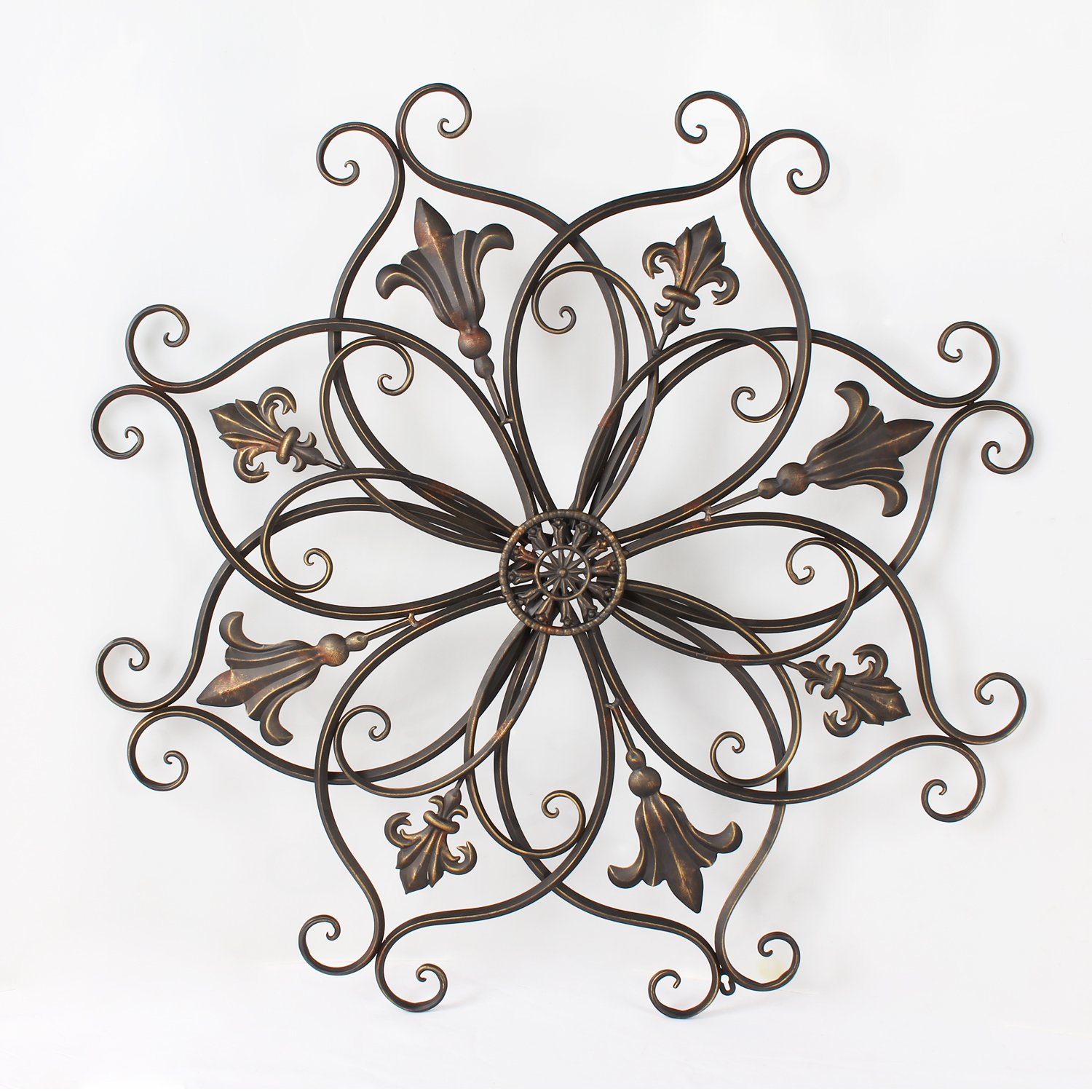 Adeco DN0011 Decorative Bronze-Color Iron Wall Hanging Decor Widget, Round Fleur-De-Lis Starburst Fleur De Lis Design, Bronze by Adeco