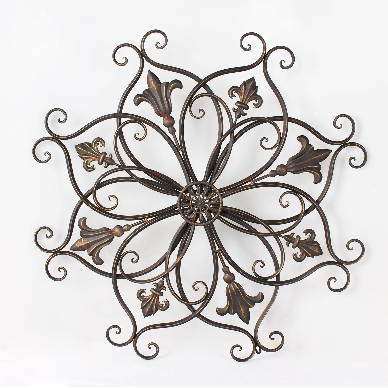Adeco DN0011 Decorative Bronze-Color Iron Wall Hanging Decor Widget, Round Fleur-De-Lis Starburst Fleur De Lis Design, Bronze
