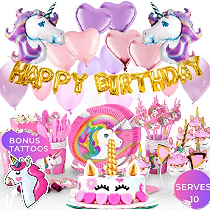 Unicorn Party Supplies Cake Topper Cupcake Wrappers Headband Party Plates Set For Kids 32 Balloons Tattoos Happy Birthday Banner Pink