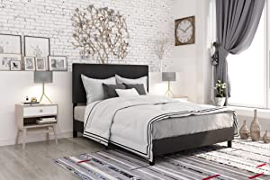 DHP Janford Upholstered Bed with Chic Design | Full | Black Faux Leather