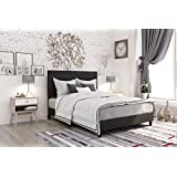 DHP Janford Upholstered Bed with Chic Design, Queen, Black Faux Leather