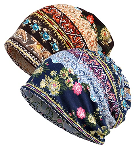 d493f1cdf7f Qunson 2 Pack Women s Printed Baggy Slouchy Beanie Chemo Hat Cap at ...