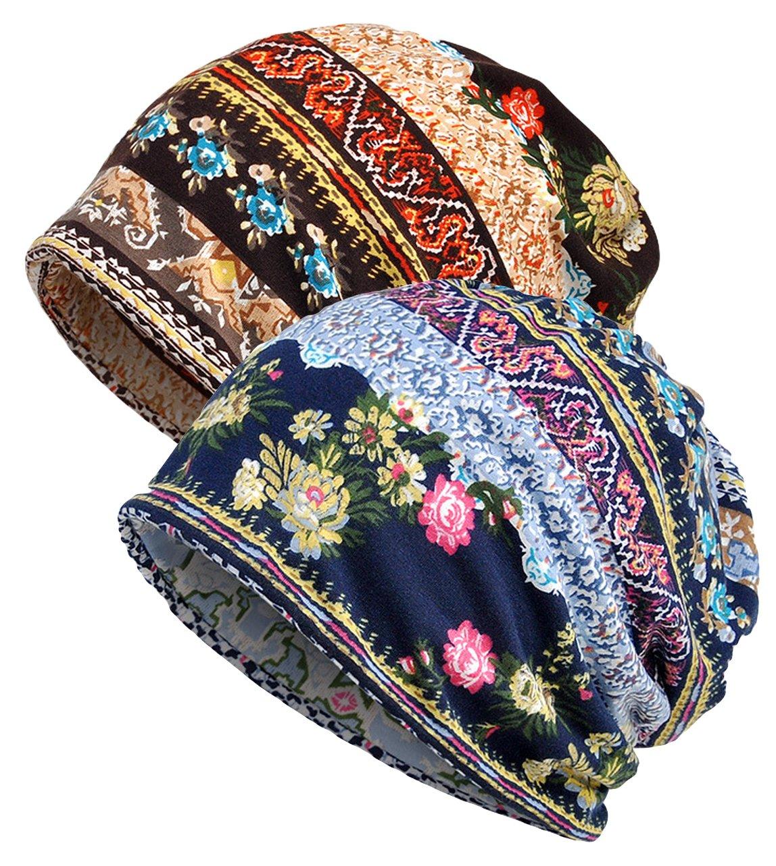 Qunson 2 Pack Women's Printed Baggy Slouchy Beanie Chemo Hat Cap