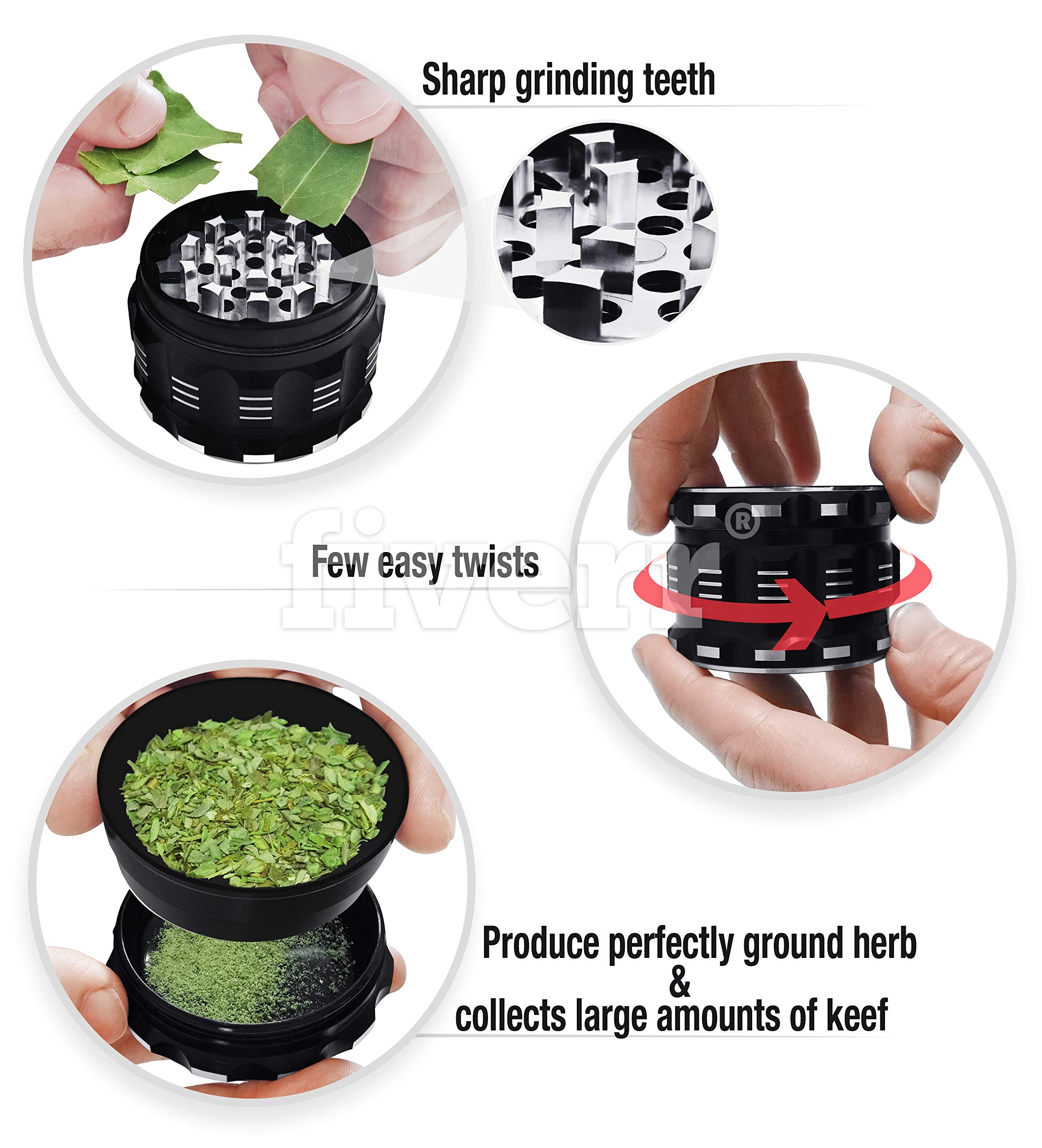"Best Herb Grinder By Kozo Grinders Large 4 Piece 2.5/"" Black Upgraded Version"