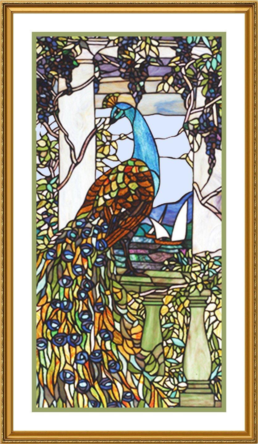 Pavo real en la bahía por Louis Comfort Tiffany - de punto de cruz de punto de pa...: Amazon.es: Juguetes y juegos