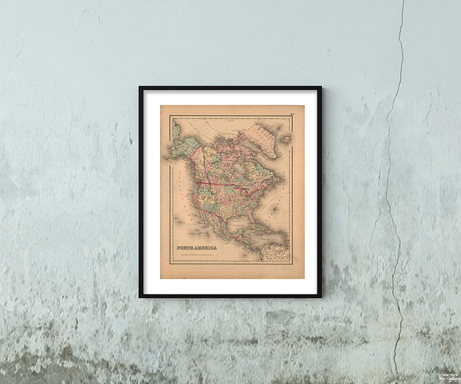 Map General Atlas (of The World), North America 1857 Continent Vintage Fine Art Reproduction Size: 20x24 Ready to Frame
