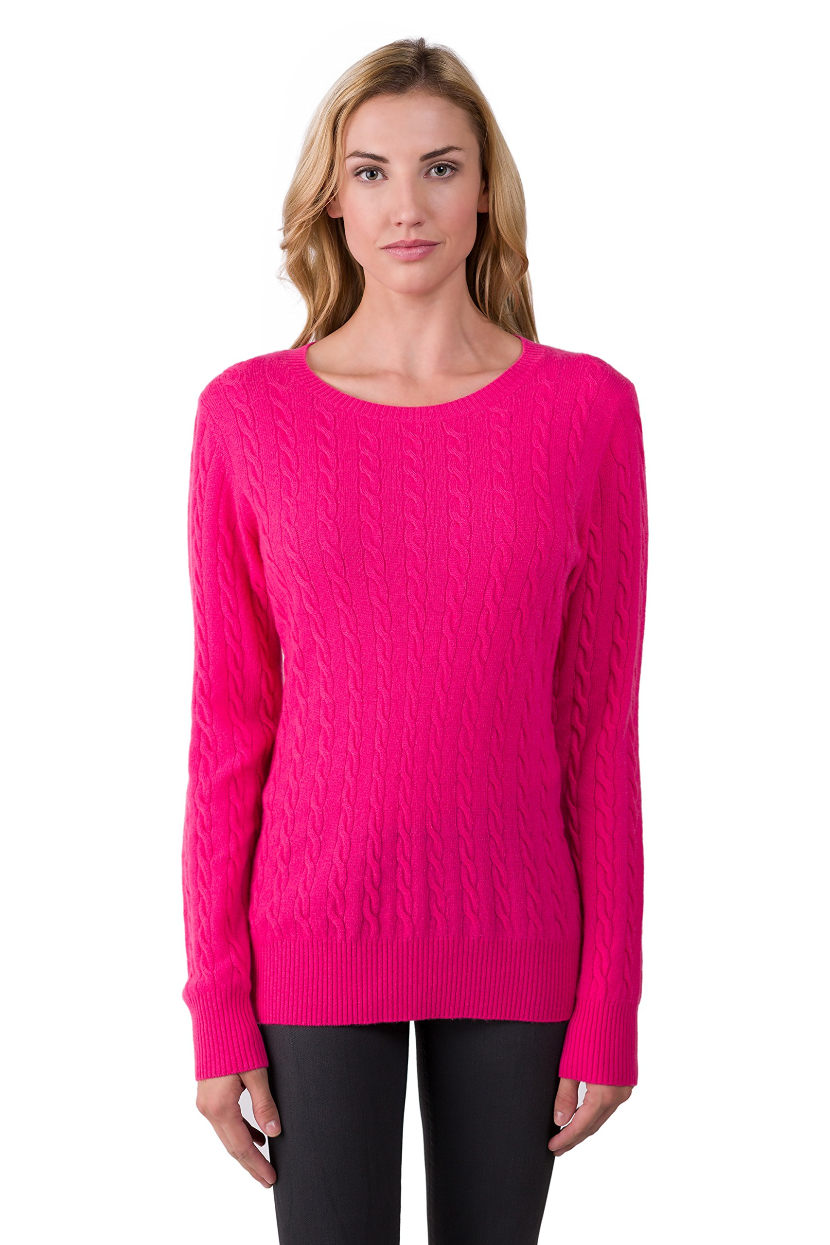 J CASHMERE Women's 100% Cashmere Long Sleeve Pullover Cable Crewneck Sweater Hotpink Medium