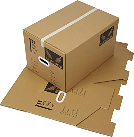 Dove Factor - Cajas de cartón para embalar (5 Unidades, tamaño Grande, Extra Fuertes, Caja de Doble
