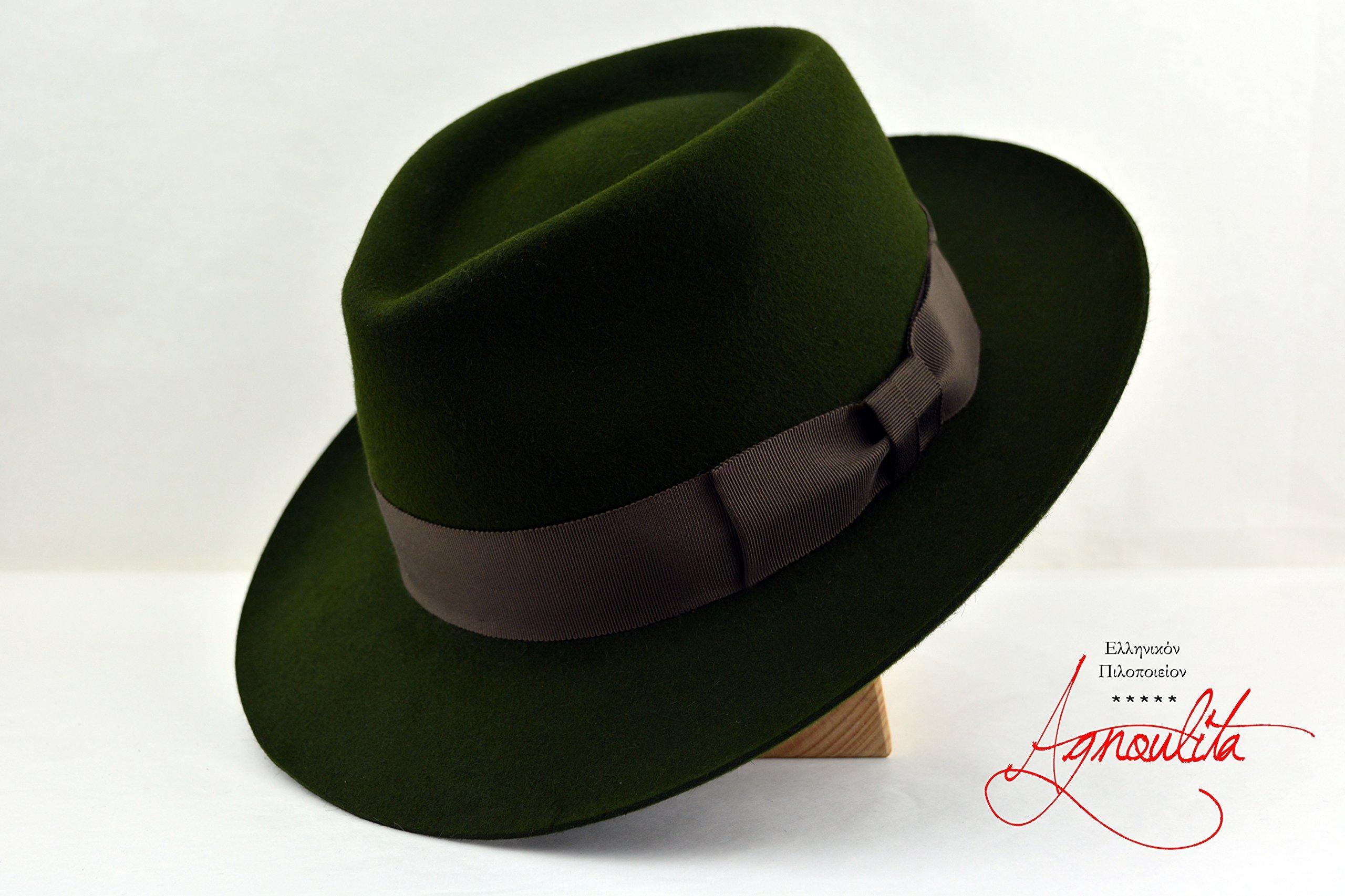 The Loden - Loden Green Rabbit Fur Felt Handmade Teardrop Fedora Hat - Medium Brim - Men Women