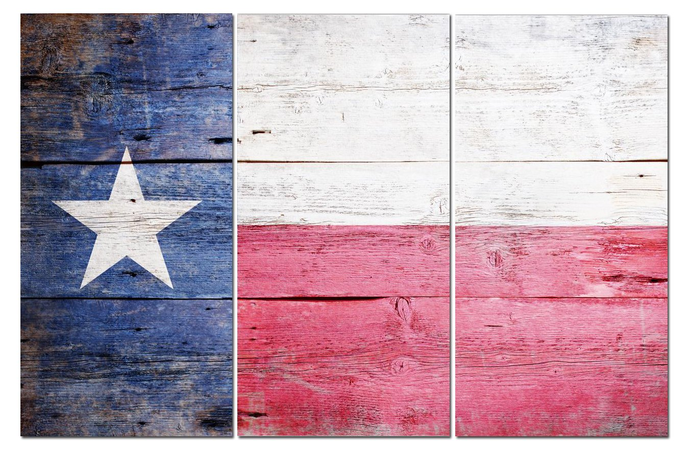 Texas State Flag Canvas Wall Art Decor - 12x24 3 Piece Set (Total 24x36 inch) - Decorative & Modern Multi Panel Split Prints - Rustic Wood Look for Dining & Living Room, Kitchen, Bedroom & Office