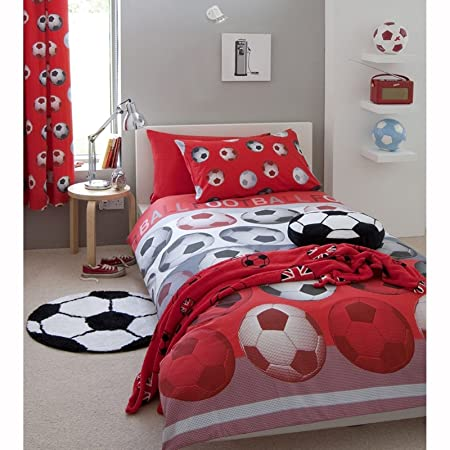 Children Curtains Home, Furniture & DIY CATHERINE LANSFIELD RED LINED FOOTBALL CURTAINS KIDS BEDROOM NEW FREE P+P