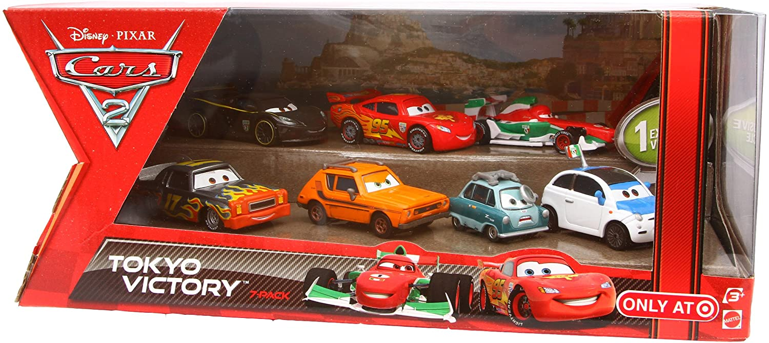 Disney Pixar CARS 2 TOKYO VICTORY Exclusive 7 pack set: FRANK CLUTCHENSON, DARREL CARTRIP, FRANCESCO BERNOULLI, LIGHTNING MCQUEEN W/ RACING WHEELS, LEWIS HAMILTON, PROFESSOR Z, GREM: Amazon.es: Juguetes y juegos