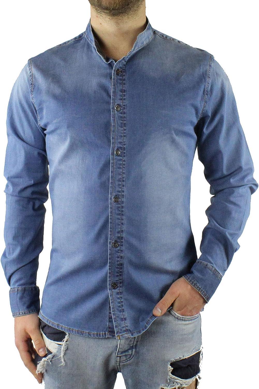 Camisa Vaquera Hombre Cuello Coreano Manga Larga Azul Denim elástica algodón Casual Turquesa XXL: Amazon.es: Ropa y accesorios