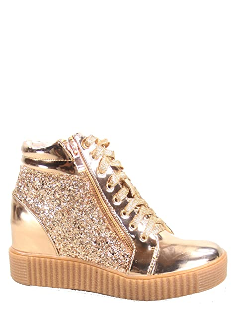 277eb708f5f7 Image Unavailable. Image not available for. Color  Forever Link Regan-14 Women s  Fashion Glitter Lace up Platform Wedge Sneaker Shoes Rose Gold