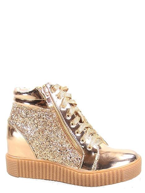 0dba9d23bd5a7 Forever Link Regan-14 Women's Fashion Glitter Lace up Platform Wedge  Sneaker Shoes Rose Gold