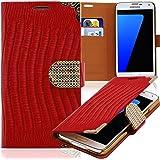 Luxus Strass Handy Tasche Schutz Hülle für Apple iPhone 5 5S Rot Book-Style Leder Etui Glitzer Case Cover Bag
