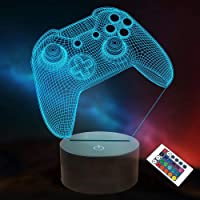 3D spelkontroll nattlampa, Lightzz spelkonsol illusionslampa med fjärrkontroll + touch 16 färger blinkande byte + timer…