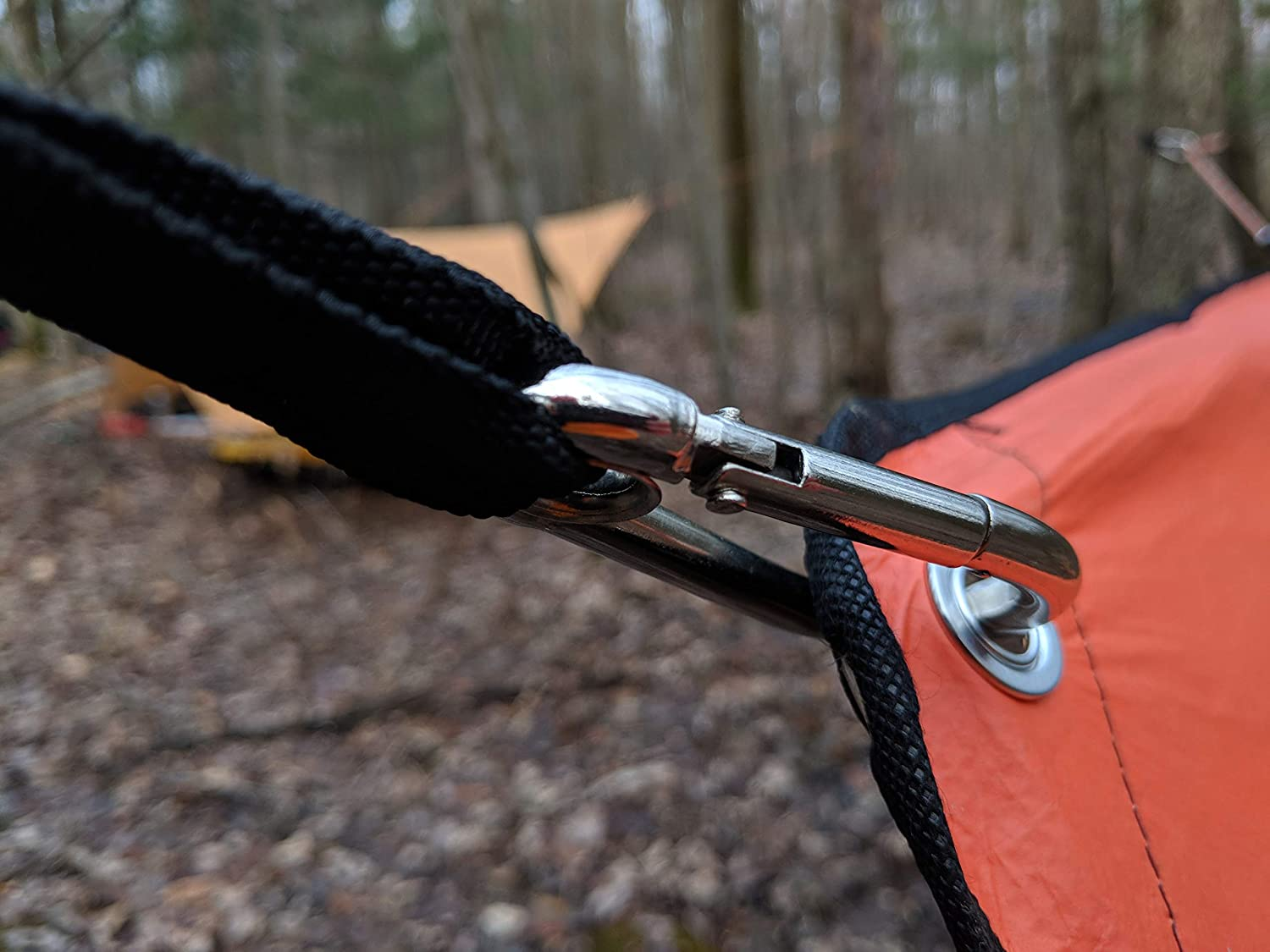 Camping Backpacking Flat Design and Carabiner Ends for Hiking Campsite Organization and Outdoor Survival UST KLIPP Strap Tie Down with Durable