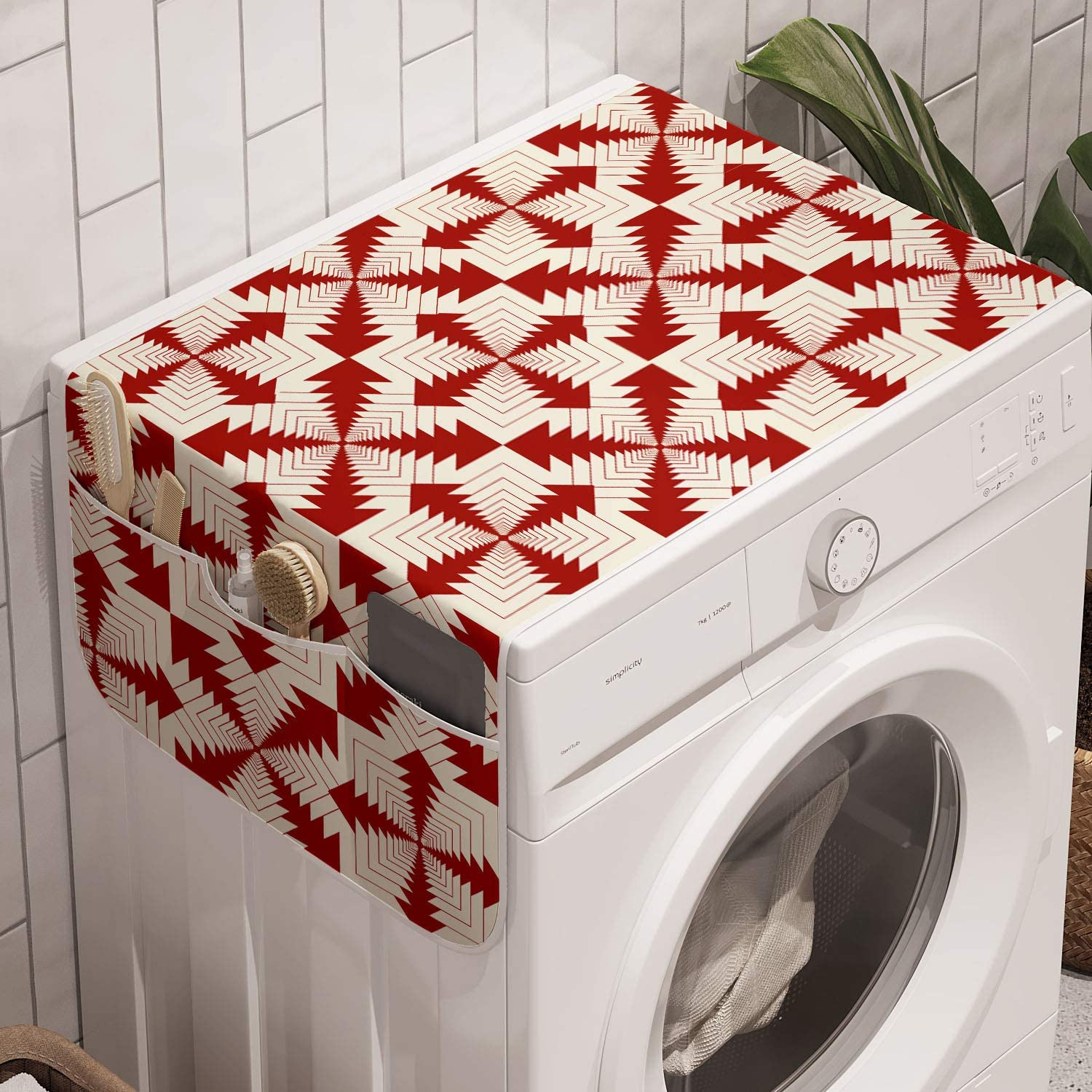 Amazon Com Ambesonne Abstract Washing Machine Organizer Repetitive Intertwined Frames Funky Style Modern Retro Pattern Art Print Anti Slip Fabric Cover For Washers And Dryers 47 X 18 5 Vermilion And Ivory Kitchen Dining