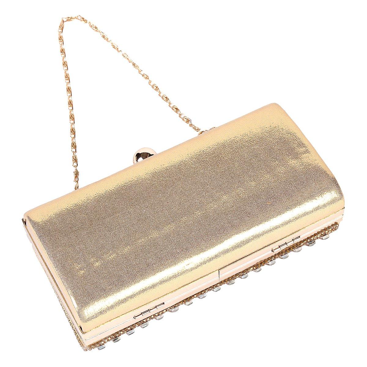 Damara Womens Rhinestone Metal Box Evening Bag