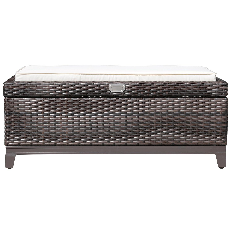 Patiorama Outdoor Storage Box Patio Aluminum Frame Wicker Cushion Storage Bin Deck Box Espresso Brown