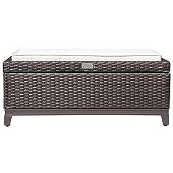 PATIOROMA Outdoor Aluminum Frame Patio Wicker Cushion Storage Ottoman Bench with Seat Cushion, Espresso Brown