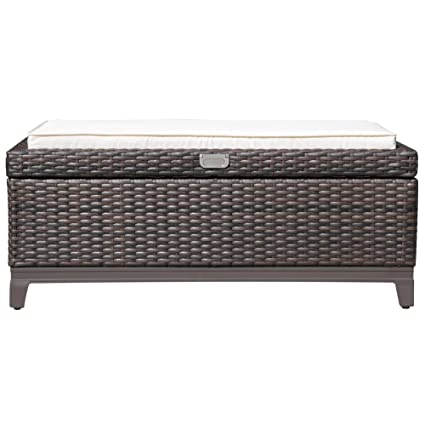 Superbe Outdoor Patio Wicker Cushion Storage Ottoman Bench Aluminum Frame With Seat  Cushion, Espresso Brown
