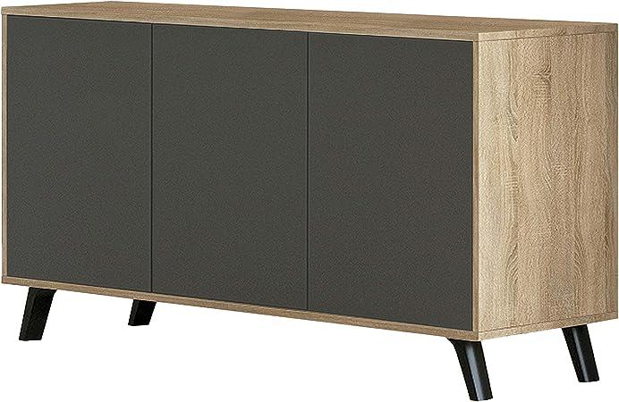 HomeSouth - Mueble Aparador 3 Puertas, Buffet para Cocina y Comedor, Modelo Soto, Acabado en Color Roble y Grafito, Medidas: 138 cm (Largo) x 39,5 cm (Fondo) x 70 cm (Alto): Amazon.es: Hogar
