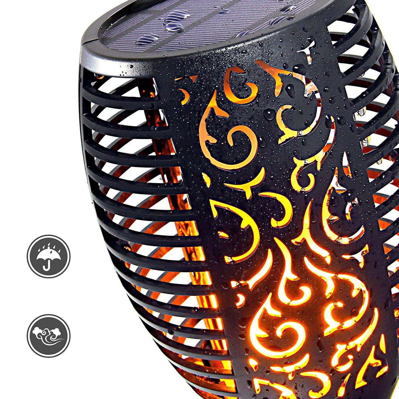 Nusun lite Solar Lights Dancing Flames Lights Solar Torch Lights Waterproof Wireless Flickering Torches Lantern Outdoor for Garden Patio Yard Driveway Pathway Pool (2 Pack) by Nusun lite (Image #2)