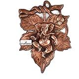 CraftVatika God Ganesha Leaf Wall Hanging Sculpture | Lord Ganesh Metal Home Decor Ganpati Wall Art