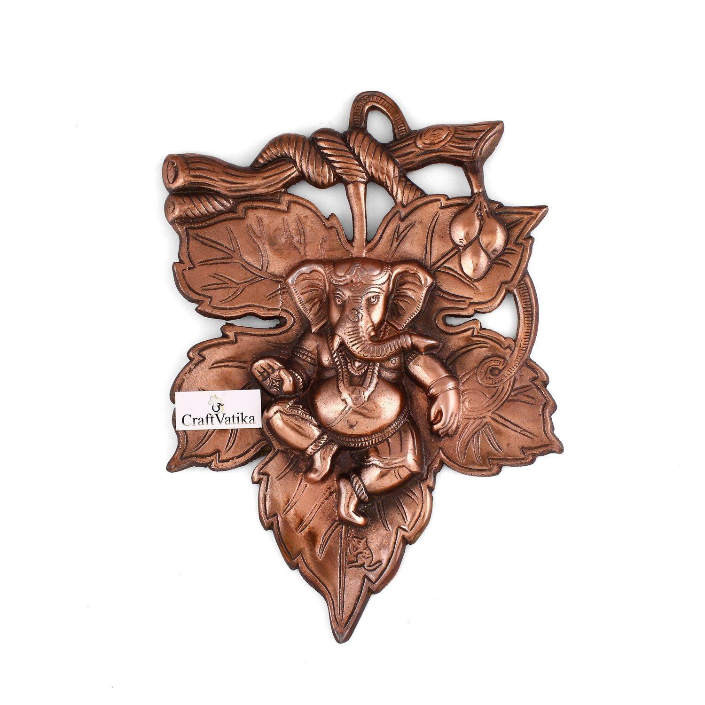 craftvatika God Ganesha Leaf Wall Hanging Sculpture | Lord Ganesh Metal Home Decor Ganpati Wall Art GMW108