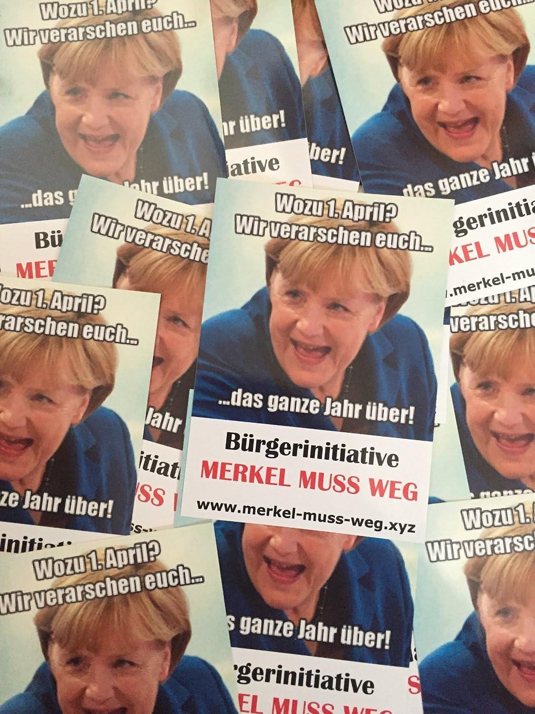 1 April Merkel Muss Weg Aufkleber 100 Stück Küche Haushalt