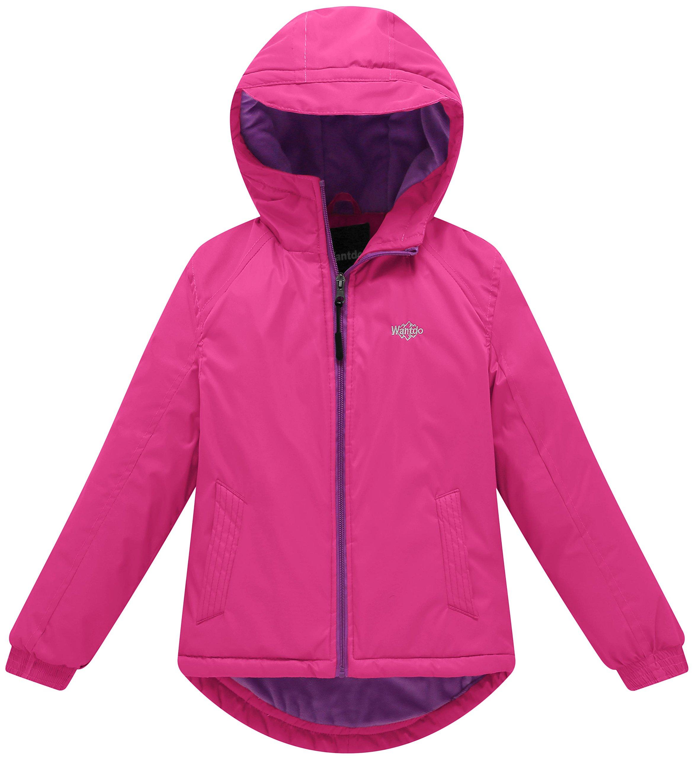 Wantdo Girl's Hooded Rain Jacket with Fleece Lining Windcheater Outdoor Short Parka(Rose Red, 6/7)