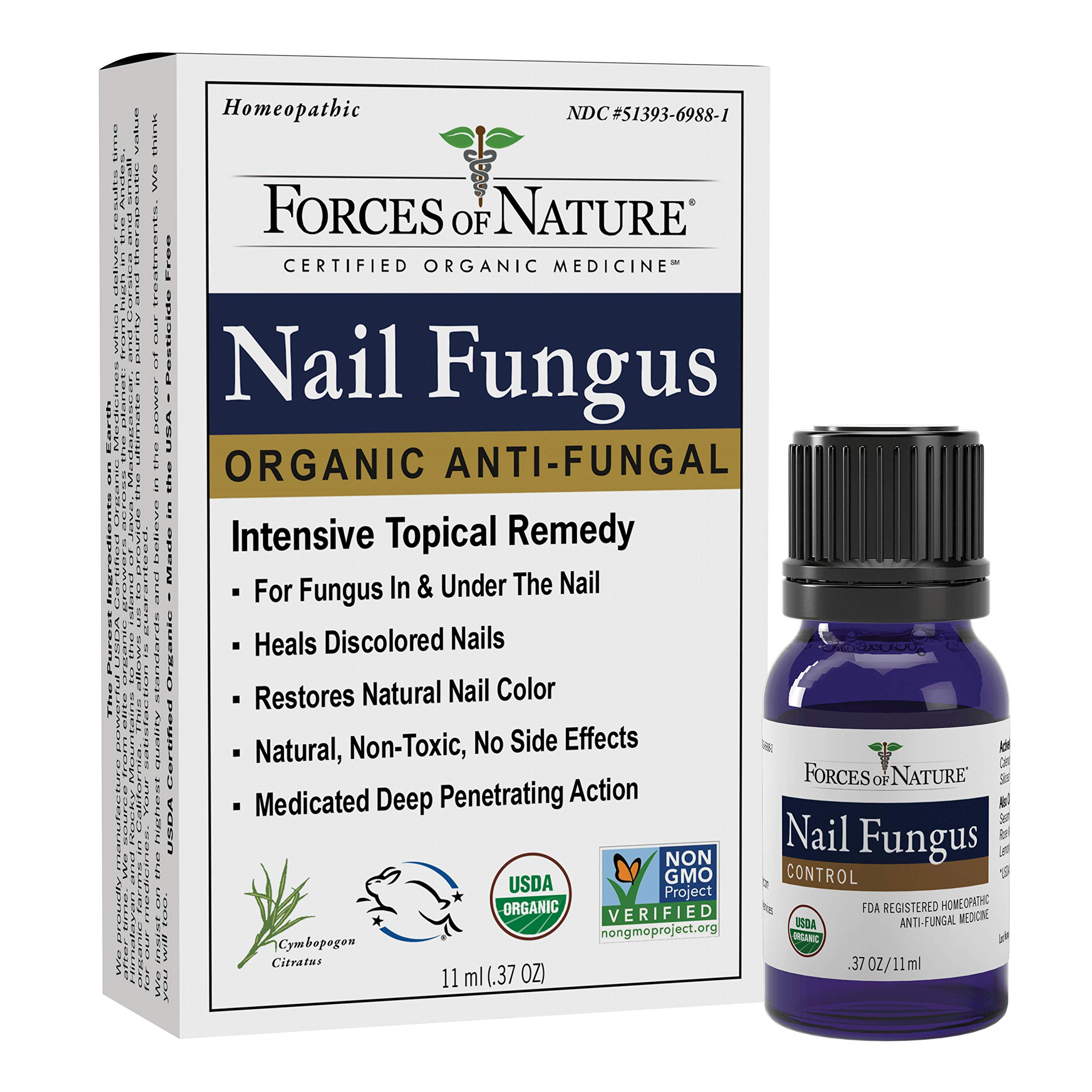 Forces of Nature -Natural, Organic Nail Fungus Treatment (11ml) Non GMO, No Harmful Chemicals, Nontoxic -Fight Damaged, Cracked, Brittle, Discolored Yellow and black Toenails, Fingernails by Forces Of Nature