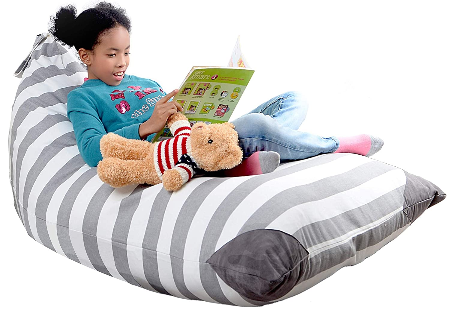 XL Stuffed Animal Storage Bean Bag Chair By mylola   premium quality cotton canvas cover   kids soft toy organizer fits 200L   makes comfy lounger