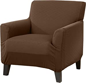 Great Bay Home Textured Slipcover, Stretch Chair Slipcover. Decorative Cord/Rope Form Fit, Slip Resistant, Strapless Slipcover. Saria Collection (Chair, Chocolate)
