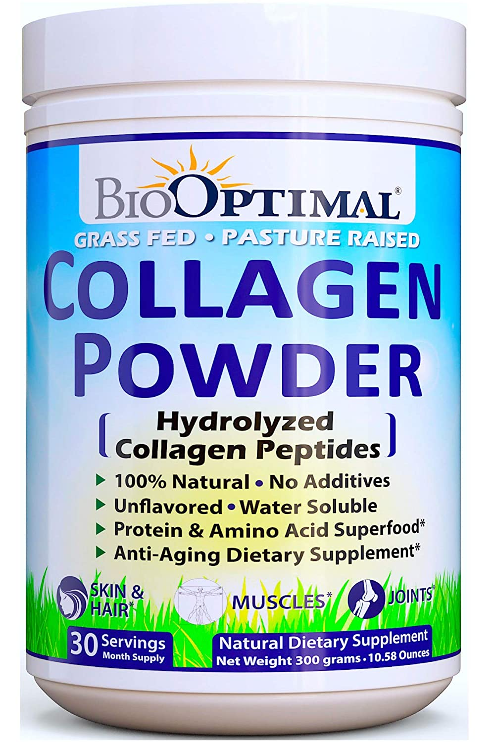BioOptimal Collagen Powder, Collagen Peptides, Grass Fed, Non-GMO Premium Quality Hydrolyzed Collagen Protein, Pasture Raised, Dissolves Easily, 300 ...