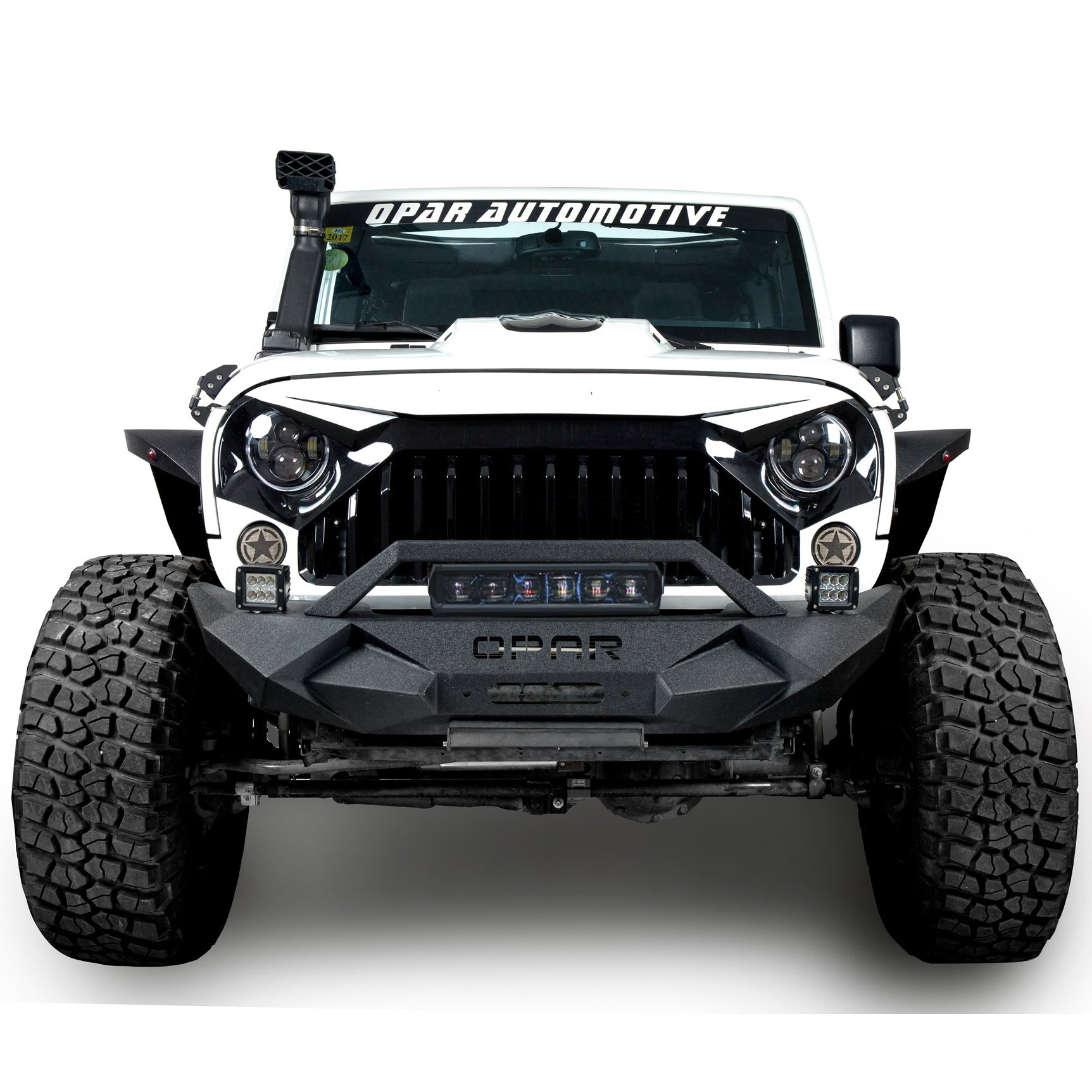 Opar Blade Master Front Bumper w/ Winch Plate & 1x 60W Light Bar & 2x Fog Lights for 07-18 Jeep Wrangler & Wrangler Unlimited JK by opar