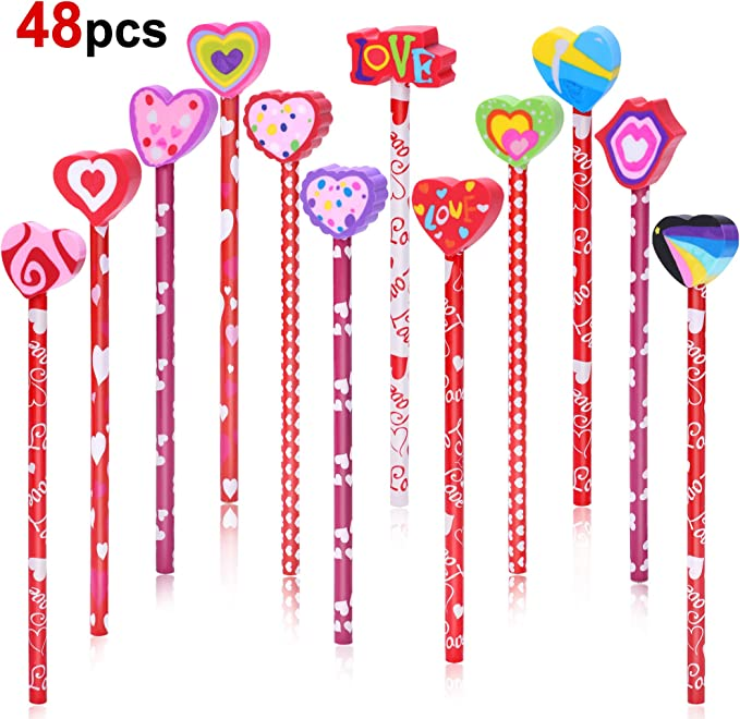 Konsait 54 Pieces Valentines Day Stationery Toy Assortment Set Bookmark Ruler Valentines Tiny Notebook Valentines Pencils Set for Birthday Bags Goodie Bag Valentine Prizes Rewards Party Favors