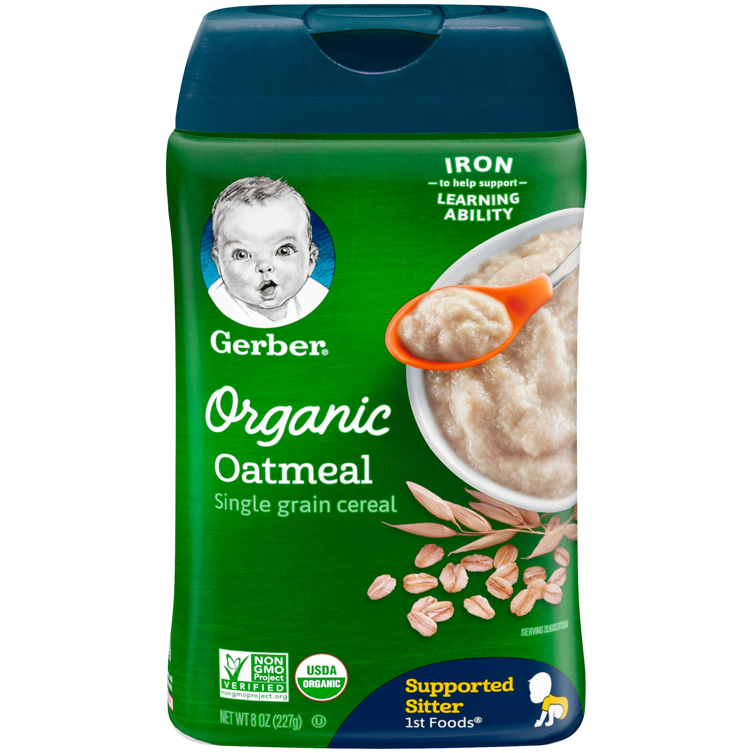 Gerber Organic Single-Grain Oatmeal Baby Cereal, 8 Ounces (Pack of 6) by GERBER