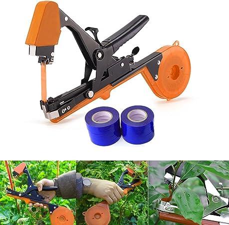 Aozzy 2018 - Cinta de atado de viñedos para jardín, para máquina de atar plantas, cañón, etc. 10 rollos de cinta + 1 grapas + herramienta de atado (negro): Amazon.es: Jardín