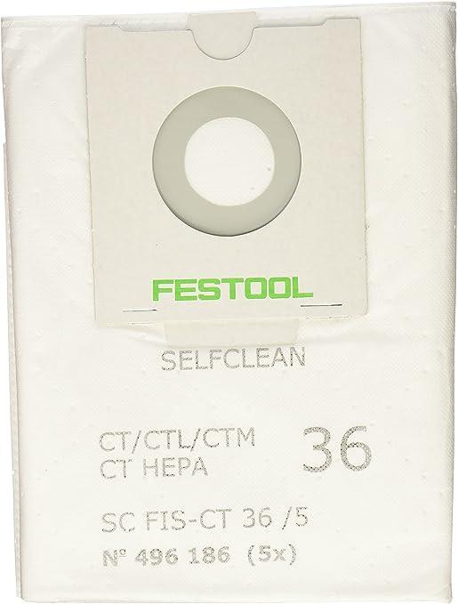 Festool 496186 SELFCLEAN Filter Bag for CT 36 Quantity 5