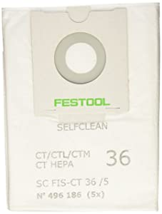 Festool 496186 SELFCLEAN Filter Bag for CT 36, Quantity 5