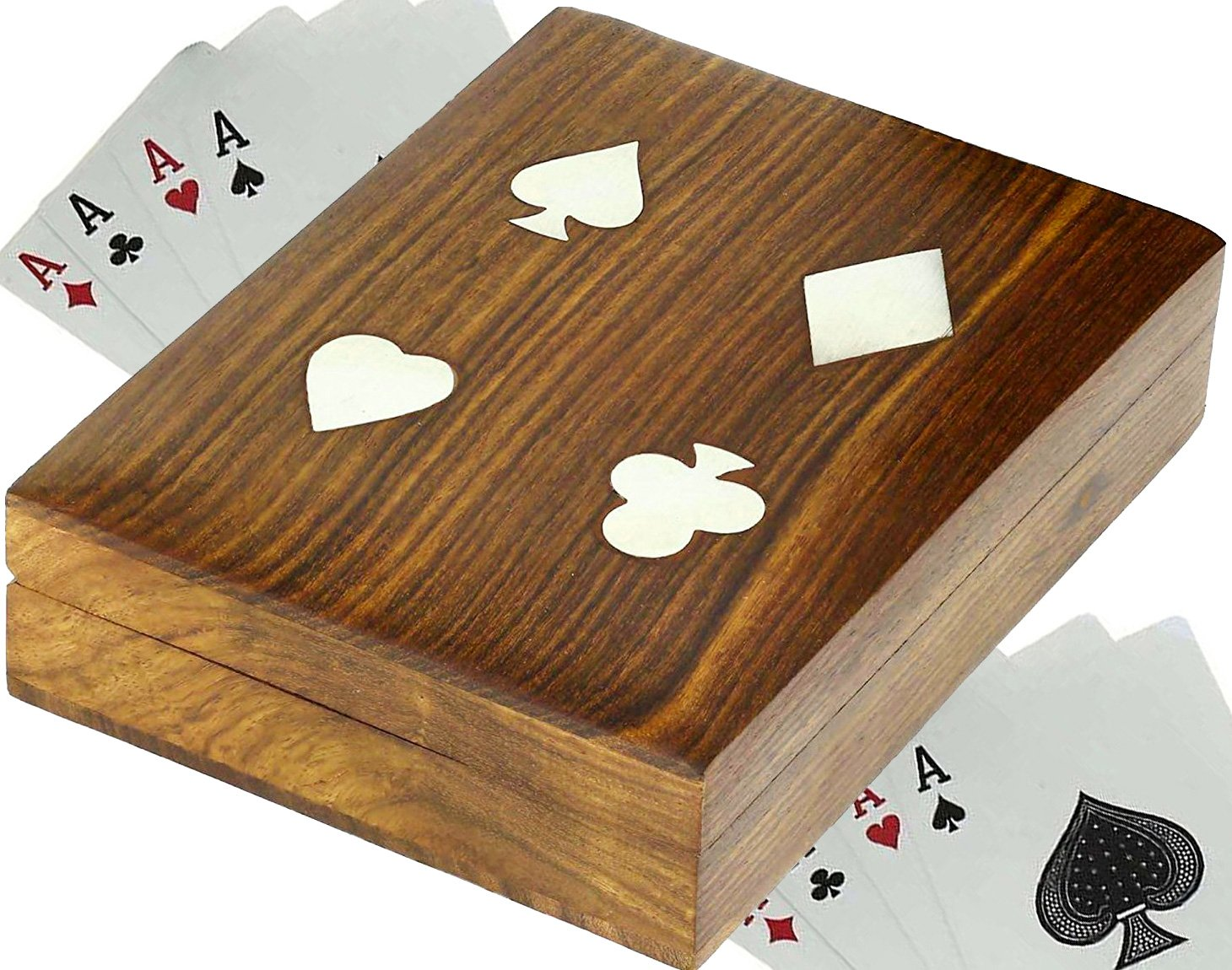 SKAVIJ naipe caso de madera caja de soporte 2 baraja de cartas accesorios hechos a mano mesa de póquer