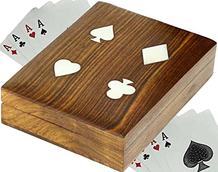 SKAVIJ Wooden Playing Card Case 2 Deck Holder Of Playing Cards Handmade  Poker Table Accessories