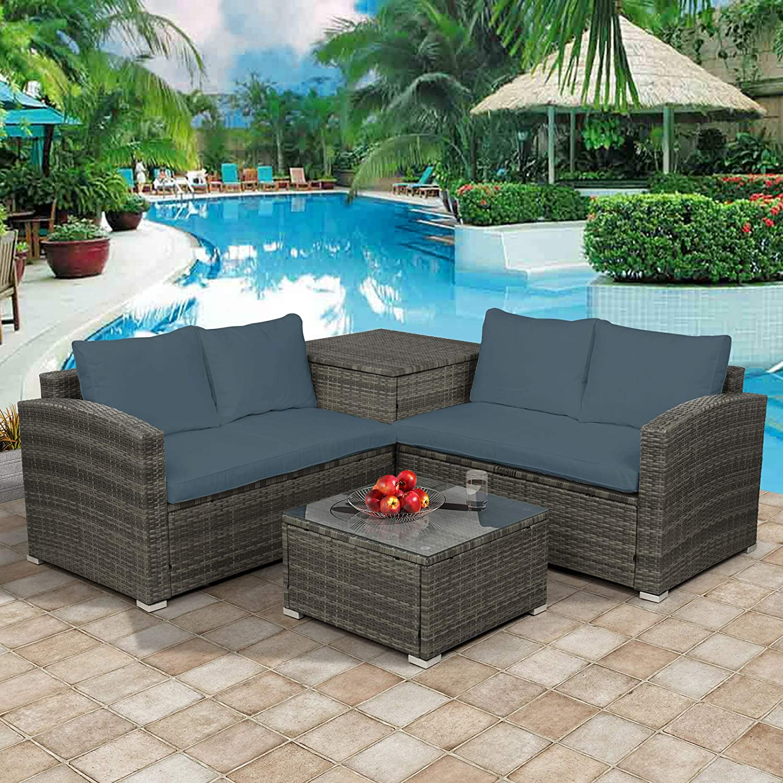 PovKeever 4 PCS Outdoor Cushioned PE Rattan Wicker Sectional Sofa Set Garden Patio Furniture Set (Gray Cushion)