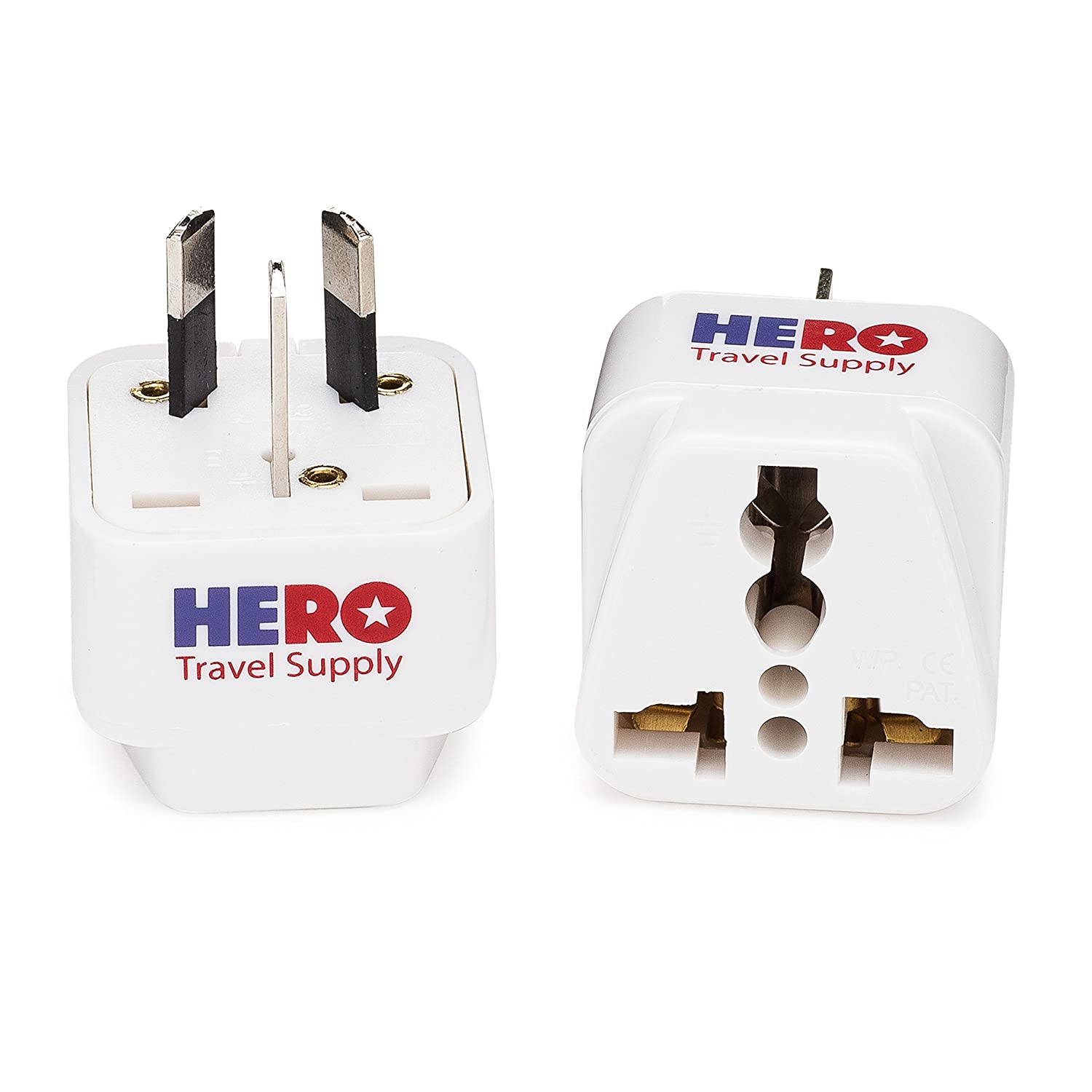 Individually Tested in the USA by Hero Travel Supply Includes Cotton Carry Bag Premium US to Italy Power Adapter Plug Type L, 3 Pack, Grounded