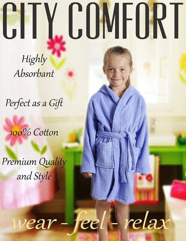 CityComfort Accappatoio per Bambino Bambina Ragazzo Ragazza con Cappuccio 100/% Cotone Vestaglia Morbida in Spugna di Cotone 7-13 Anni