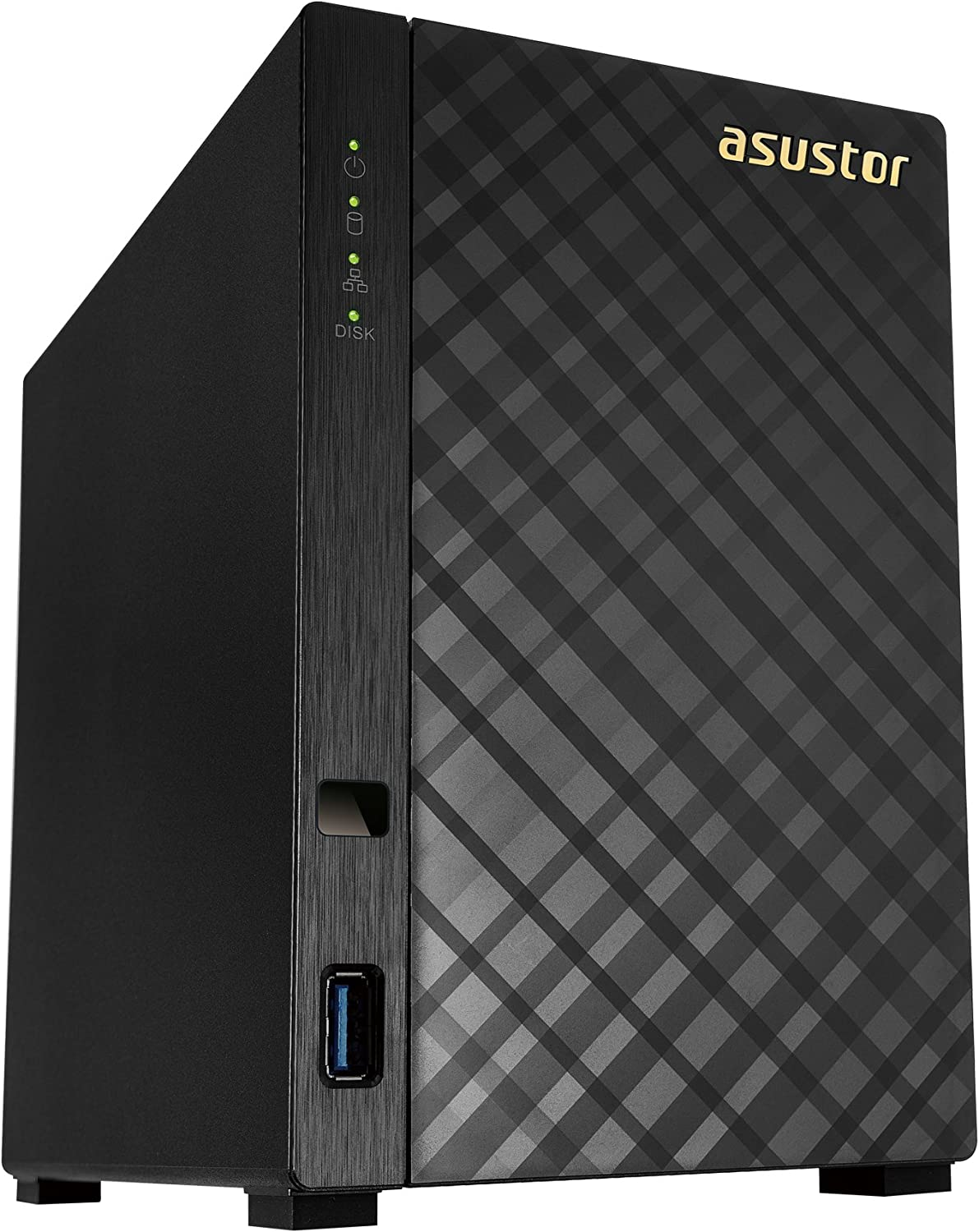 Asustor AS1002T v2 | Network Attached Storage + Free exFAT License | 1.6GHz Dual-Core, 512MB RAM | Personal Private Cloud | Home Media Server (2 Bay Diskless NAS)