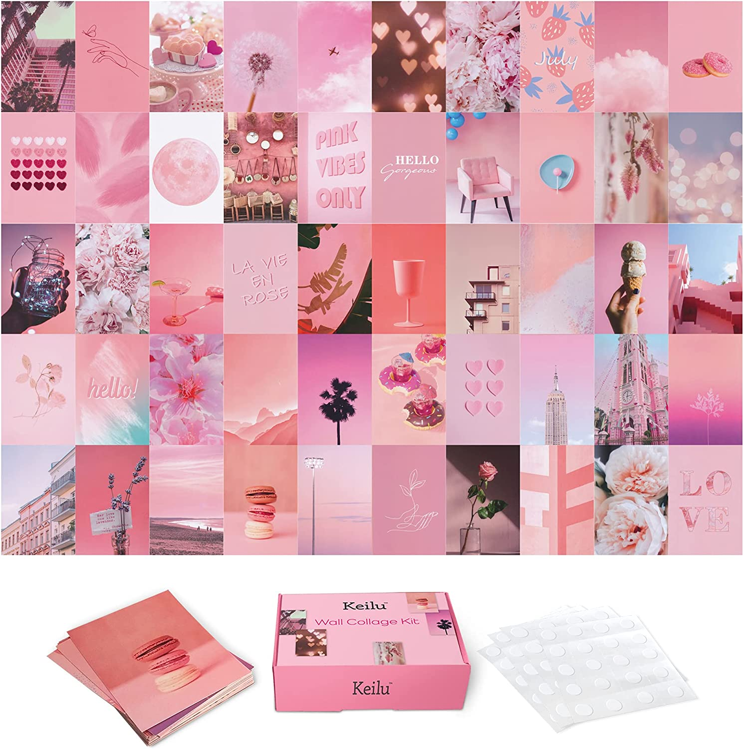 Keilu Pink Room Decor Aesthetic - Photo wall collage kit for wall aesthetic decor. This picture wall collage set adds PINK wall decor to any teen room wall. 50 4x6 posters for room aesthetic.